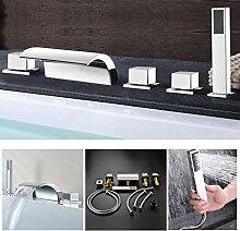 KINSE 5 Loch Chrom Wannenrandarmatur Wasserfall Wannenmischer Vertikale-Montage Bad Armatur Badewanne Wasserhahn mit Handbrause für Badenzimmer