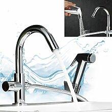 Kinse® Ausziehbar Küche Kaltwasserhahn Waschtischarmatur Wasserbecken Wasserkran Bad Küche Spültischarmatur