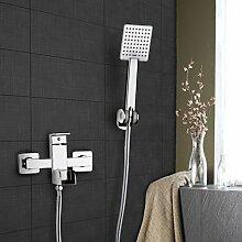 KINSE Badewannenarmatur Aufputz mit Led Wasserfall Wasserhahn, mit Brause, Wandmontage, Chrom