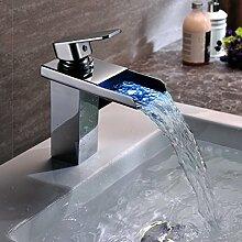 KINSE® Chrom LED RGB Waschtischarmatur Wasserhahn Armatur Kupfer Mischbatterie für Bad oder Küche