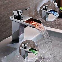 Kinse Design LED RGB Wasserhahn Waschtischarmatur Armatur Kupfer mit 2 Anschluss 3/8 Zoll für Bad Küche Waschtisch Waschbecken