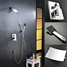 KINSE Duschset Wasserhahn Set Duschsystem Dusche Wasserfall Set Wandhalterung und Handbrause