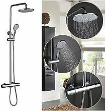 KINSE Duschsystem mit Thermostat Wassertemperatur mit Rainshower Regendusche Handbrause und Duschstange für Dusche Höhenverstellbar 750-1150mm