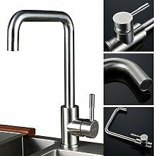 Kinse® Edelstahl Wasserhahn Spültischarmatur Einhandmischer Mischbatterie Küchenarmatur