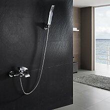 KINSE Einhand-Wannenbatterie Aufputz mit Wasserfall Wasserhahn, Einhebel-Mischbatterie Badewanne mit Stabbrause, Wandmontage, Chrom