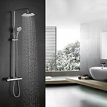 Kinse® Elegant Chrom Überkopf-Brauseset Duschsystem mit Brausethermostat inkl. Handbrause und Regenbrause