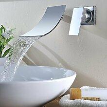 KINSE® Elegant Mischbatterie Wandhalterung Wasserhahn Armatur Wand Wasserfall Waschbecken Waschtisch