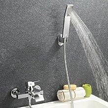 Kinse® Elegant Zeitgenössische Armatur Wasserfall Badewanne Wasserhahn inkl. Wandhalterung mit Handbrause für Bad Badezimmer