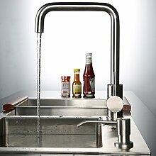 Kinse® Hochwertige Gebürstet Silber Küchearmatur Mischbatterie Spültischarmatur aus Edelstahl SUS304 mit ABS Bubbler Kann Wasser 30% Sparen für Küche Waschbecken(7-Form)