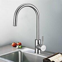 KINSE® Küchenarmatur LED RGB 360 Grad Drehung Mischbatterie 304 Edelstahl Küche Armatur Wasserfall Spültischarmatur