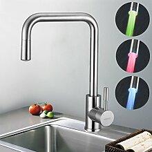 Kinse® LED RGB Wasserhahn Küchenarmatur Spültisch Armatur Edelstahl Mischbatterie Küche
