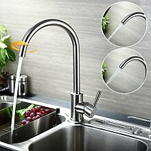 KINSE Mischbatterie Küchenarmatur SUS304 Edelstahl 360° drehbar Schwenkbarer Spültisch Armatur Wasserhahn Küche