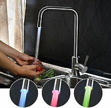 KINSE SUS304 Einhebel Küchen Spültisch Armatur LED Mischbatterie für Küche 360° Drehbar Küchenarmatur Spültischarmaturen