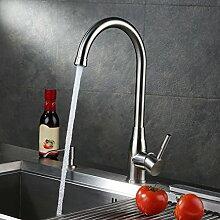 KINSE Wasserhahn Küche Küchenarmatur SUS304 Edelstahl 360° Schwenkbar drehbar Spültisch Armatur Mischbatterie für Küche