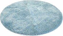 Kinzler J-10001/16 hochwertige Mikrofaser Badematte Uni, 90 cm, rund, flusenfrei, pflegeleicht, hellblau