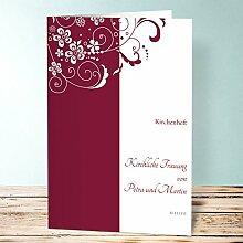 Kirchenheft Hochzeit, Garten der Träume 30 Karten, Vertikale Klappkarte 148x210 (A5), Ro