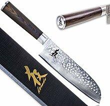 Kirosaku Premium Santoku Messer Damast 18cm -