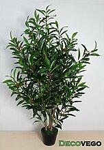 Kirsch Lorbeer Kirschlorbeer Kunstpflanze Kunstbaum Künstliche Pflanze mit Naturholz 120cm Decovego