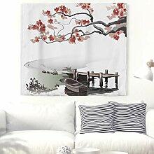 Kirschblüte Brücke Boot Wandteppich Japanisch
