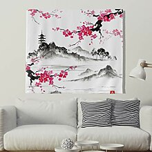 Kirschblüte Turm Berge Wandteppich Japanisch Stil