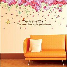 Kirschblüten Blumen Butterfies Englisch Buchstaben Wandtattoo House Aufkleber abnehmbarer Wohnzimmer Tapete Schlafzimmer Küche Art Bild Wandmalereien Sticks PVC Fenster Tür Dekoration + 3D Frosch Auto Aufkleber Geschenk