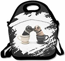 Kiss Tea Cup Pugs Lunch Bag Tote Handbag Lunchbox