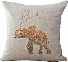 Kissen 45x 45cm/18x 18Tinte Malerei Serie Elefanten grau beige Farbe Elefant Baumwolle Leinen Kissenbezug für Sofa Home Shop Bar Club Auto Katze Hund Bett Decor my-a1051–01 #12