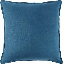 Kissen aus gewaschenem Leinen in Pfauenblau 45x45