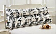 Kissen Baumwolle und Leinen Doppel Dreieck Kissen Nachttisch weichen Tasche Kissen Bett Große Rückenlehne kann gewaschen und gewaschen werden ( Farbe : A2 , größe : 90cm )