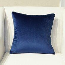 Kissen blau minimalistischen modernen fusselfreien Tuch auf Paket auto Kissen kit Lendenwirbelstütze großes Bett Rückenlehne, 50 x 50 cm, blau Farbe