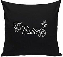 Kissen Butterfly Motiv 40x40cm Füllung 40x40cm Dekokissen Geschenkidee, schwarz