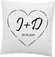 Kissen Herz mit Datum und Initialen von Dir und