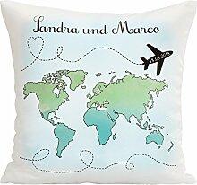 Kissen – Hochzeitsreise mit Weltkarte für das