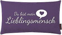 Kissen Lieblingsmensch aubergine 30x50cm Made in Germany