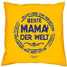 Kissen mit Füllung :-: Beste Mama der Welt :-: Muttertagsgeschenk Geburtstagsgeschenk Mutter :-: Dekokissen Sofakissen Geschenkidee für Sie Geburtstag :-: Größe: 40x40cmFarbe: gelb