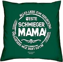 Kissen mit Füllung :-: Beste Schwiegermama :-: Geschenk Idee Geburtstag Schwiegermutter :-: Dekokissen Sofakissen als Muttertagsgeschenk:-: Größe: 40x40cmFarbe: dunkelgrün
