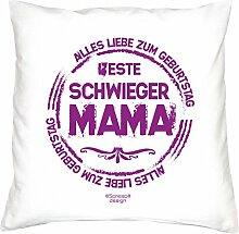 Kissen mit Füllung :-: Beste Schwiegermama :-: Geschenk Idee Geburtstag Schwiegermutter :-: Dekokissen Sofakissen als Muttertagsgeschenk:-: Größe: 40x40cmFarbe: weiss