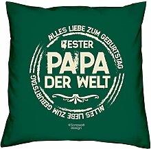 Kissen mit Füllung :-: Bester Papa der Welt Vatertagsgeschenk Geburtstagsgeschenk Vater :-: Dekokissen Sofakissen Geschenkidee für Ihn Männer Geburtstag :-: Größe: 40x40cmFarbe: dunkelgrün