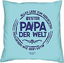 Kissen mit Füllung :-: Bester Papa der Welt Vatertagsgeschenk Geburtstagsgeschenk Vater :-: Dekokissen Sofakissen Geschenkidee für Ihn Männer Geburtstag :-: Größe: 40x40cmFarbe: hellblau