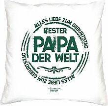 Kissen mit Füllung :-: Bester Papa der Welt Vatertagsgeschenk Geburtstagsgeschenk Vater :-: Dekokissen Sofakissen Geschenkidee für Ihn Männer Geburtstag :-: Größe: 40x40cmFarbe: weiss