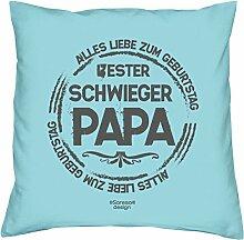 Kissen mit Füllung :-: Bester Schwiegerpapa :-: Geschenk Idee Geburtstag Schwiegervater :-: Dekokissen Sofakissen als Vatertagsgeschenk:-: Größe: 40x40cmFarbe: hellblau