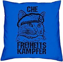 Kissen mit Füllung :-: Che :-: Geschenkidee für Tier-Katzen-Liebhaber :-: Deko-Sofa-Couch-Kissen als Geburtstags-Muttertags-Geschenk:-: Größe: 40x40cmFarbe: royal-blau
