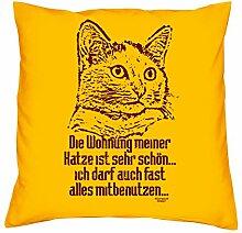 Kissen mit Füllung :-: Die Wohnung meiner Katze :-: Geschenkidee für Tier-Katzen-Liebhaber :-: Deko-Sofa-Couch-Kissen als Geburtstags-Muttertags-Geschenk:-: Größe: 40x40cmFarbe: gelb