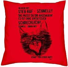Kissen mit Füllung :-: Ein leerer Napf :-: Geschenkidee für Tier-Katzen-Liebhaber :-: Deko-Sofa-Couch-Kissen als Geburtstags-Muttertags-Geschenk:-: Größe: 40x40cmFarbe: ro