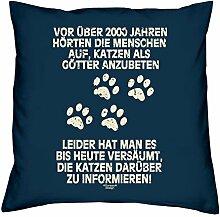 Kissen mit Füllung :-: Katzen als Götter :-: Geschenkidee für Tier-Katzen-Liebhaber :-: Deko-Sofa-Couch-Kissen als Geburtstags-Muttertags-Geschenk:-: Größe: 40x40cmFarbe: navy-blau