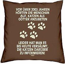 Kissen mit Füllung :-: Katzen als Götter :-: Geschenkidee für Tier-Katzen-Liebhaber :-: Deko-Sofa-Couch-Kissen als Geburtstags-Muttertags-Geschenk:-: Größe: 40x40cmFarbe: braun