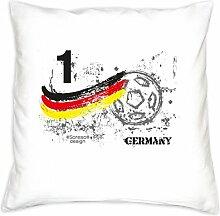 Kissen mit Füllung ::: Nr. 1 Germany ::: Geschenk für Fußball Fans ::: Nationalmannschaft Deutschland