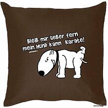 Kissen mit Füllung - Bleib mir lieber......... - Witziges Zusatzkissen, Kuschelkissen, 40x40 als Geschenkidee. Hund