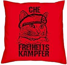 Kissen mit Füllung :: Che Katzen-Motiv :: Dekokissen Sofakissen Couchkissen 40 x 40 cm Tolle Geschenkidee zum Geburtstag Geschenk für Tierliebhaber Farbe: ro