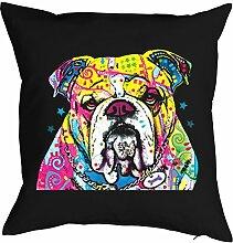 Kissen mit Füllung: Hund, Bulldog, buntes Motiv -